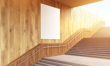 wooden stairs: Blank poster on wooden wall and concrete stairs. Mock up, 3D Rendering