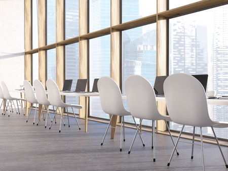 singapore city: Classroom interior with laptops on tables, chairs and Singapore city view. 3D Rendering Stock Photo