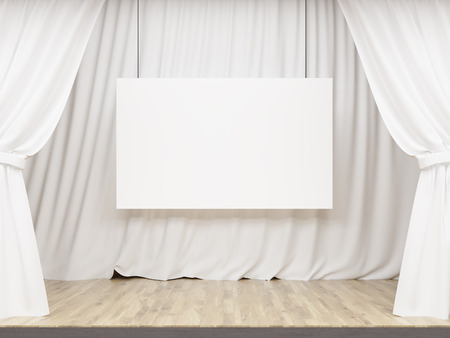 curtain up: Stage with white curtains and blank billboard. Mock up, 3D Rendering