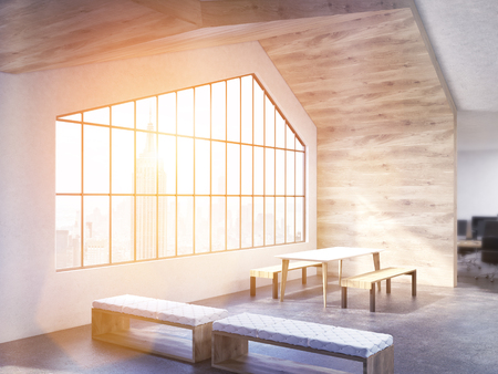 loft interior: Loft interior design with table, benches, wooden wall, ceiling and window with New York city view. Toned image. 3D Rendering Stock Photo