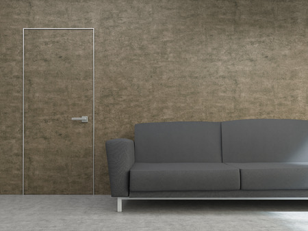 front of house: Interior design with dark sofa and hardly noticeable door on textured brown wall. Mock up, 3D Rendering