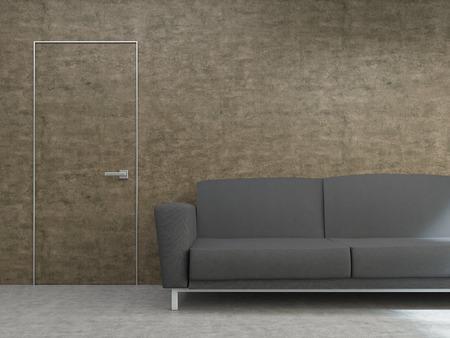 noticeable: Interior design with dark sofa and hardly noticeable door on textured brown wall. Mock up, 3D Rendering