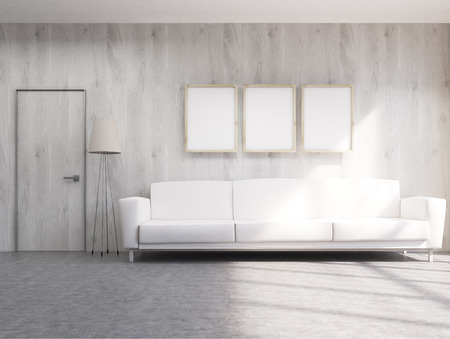 white sofa: Interior with white sofa, three blank picture frames, and floor lamp. Mock up, 3D Rendering