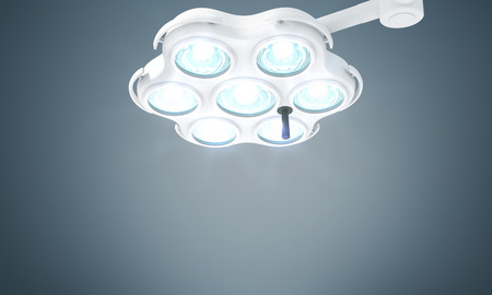 turned: Turned on medical lamp on grey background. Mock up, 3D Rendering
