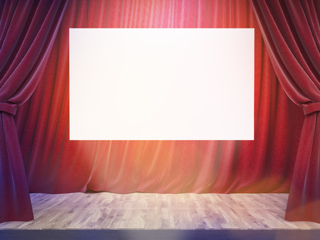 limelight: Theater stage with drawn red curtains, blank white banner and limelight. Mock up, 3D Rendering