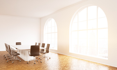 boardroom: Boardroom interior with wooden floor, concrete walls and windows with sunlight. 3D Rendering