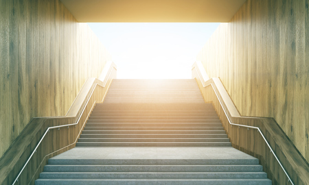 stairway: Success concept with stairway leading up to bright sunshine. Toned image. 3D Rendering