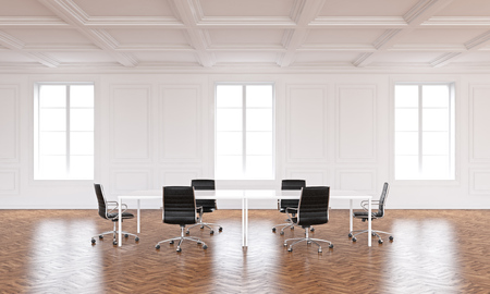 spacious: Spacious conference room interior with wooden floor and several windows. 3D Rendering