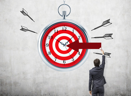 timelines: Time management and targeting concept with businessman