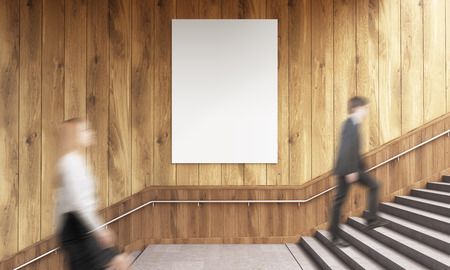 wooden stairs: Side view of blank poster on wooden wall and businesspeople climbing stairs. Mock up, 3D Rendering