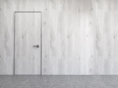 copy space: Interior with grey wooden wall, concrete floor and door. Mock up, 3D Rendering