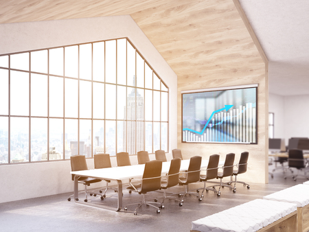 conference room: Conference room interior with business chart on board and New York city view. 3D Rendering Stock Photo