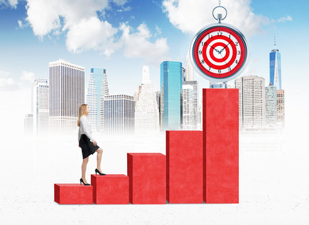 timelines: Time management concept with businesswoman climbing chart bars on city background