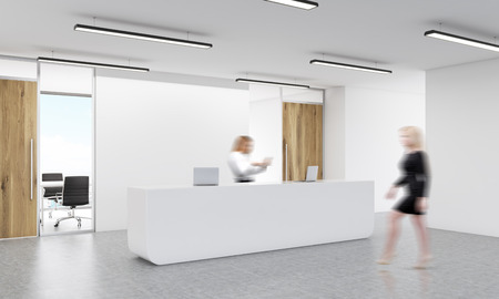 spacious: Office reception with two blurry businesswomen. 3D Rendering