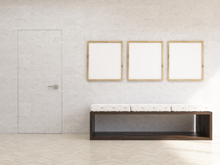 wooden doors: Interior with concrete wall, wooden floor, bench and three picture frames. Mock up, 3D Rendering
