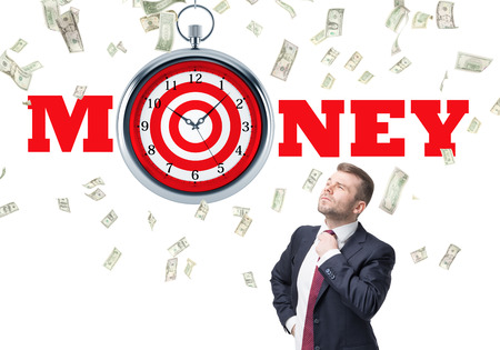 lack of confidence: Time is money and targeting concept with confident businessman and dollar rain on white background