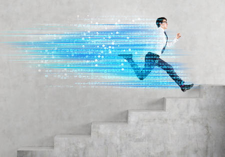 digital code: Success concept with businessman running upstairs and digital code trail