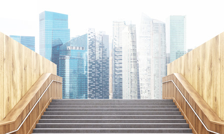singapore city: Success concept with staircase leading to Singapore city. 3D Rendering