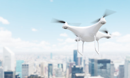 singapore city: White drone over blurry Singapore city. 3D Rendering Stock Photo