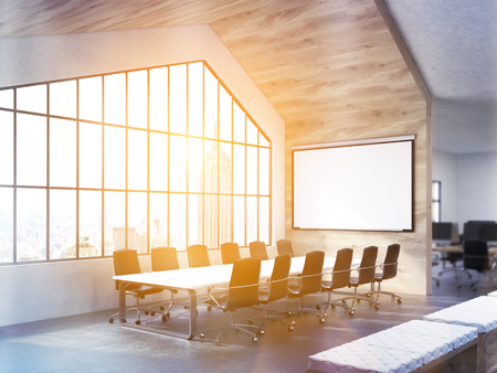 conference table: Side view of conference table in interior with blank whiteboard and window with sunlit New York city view. Toned image. Mock up, 3D Rendering Stock Photo