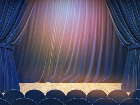 curtain up: Stage interior with blue curtains, rows of seats and lime light. Mock up, 3D Rendering