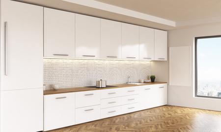 kitchen window: Side view of luxury kitchen interior with white furniture, wooden floor, blank whiteboard and window with city view. 3D Rendering
