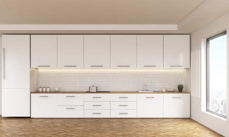 Luxe keuken interieur met witte meubels, houten vloer en raam met uitzicht op de stad. 3D Rendering