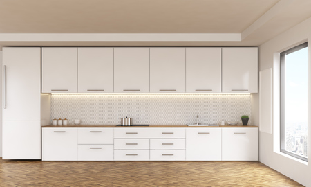 Luxury kitchen interior with white furniture, wooden floor and window with city view. 3D Rendering