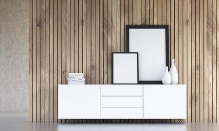 En Blanco Del Diseño Interior Con Marcos De Cuadros, Jarrones Y ...