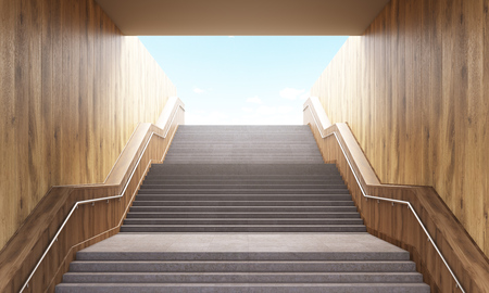 leading: Success concept with concrete and wooden staircase leading upwards to blue sky. 3D Rendering