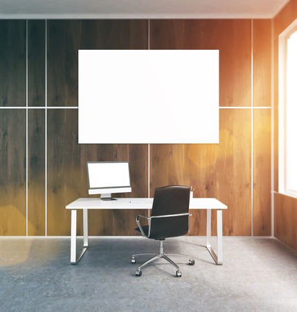 toning: Office interior with blank banner on wooden wall, window and concrete floor. Toned image. Mock up, 3D Rendering