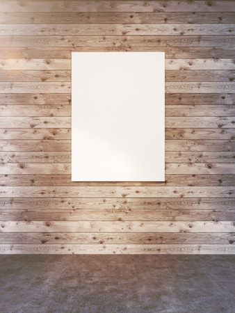 blank poster: Blank poster hanging on wooden plank wall in room. Toned image. Mock up, 3D Rendering