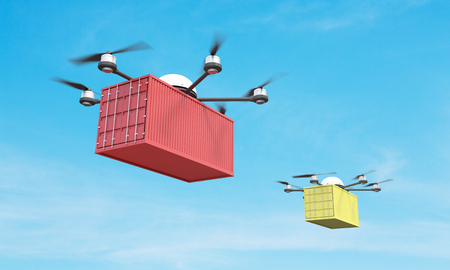 corrugated box: Two quadrocopters with corrugated cargo in the sky. 3D Rendering Stock Photo