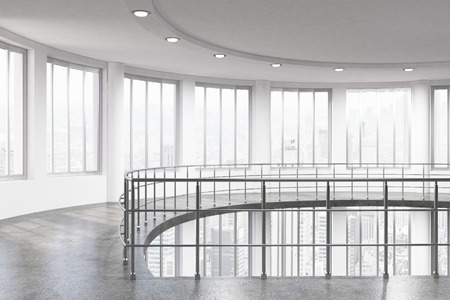 railing: Bright interior with railing, windows with city view, concrete walls, floor and ceiling with lamps. 3D Rendering