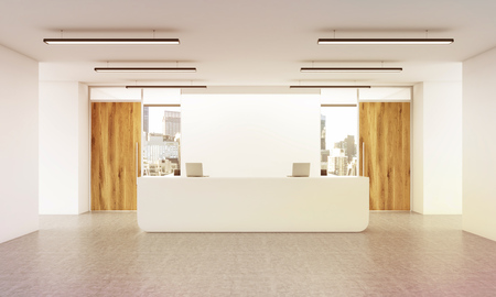 reception desk: Office lobby interior with reception desk, concrete floor, wall, wooden doors and city view. 3D Rendering