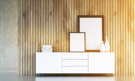 photo real: Interior design with blank picture frames, vases and books on white cupboard with wooden plank wall in the background. Toned image. Mock up, 3D Rendering