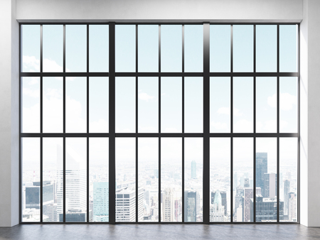 penthouse: Front view of interior with concrete floor and large framed window with New York city view. 3D Rendering