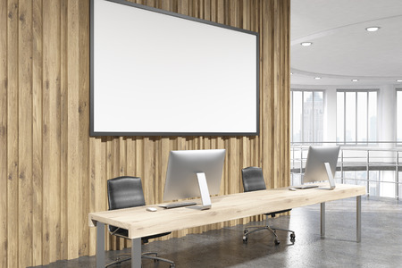 office window view: Side view of office interior with blank banner, workplace with computer monitors and window with New York city view. Mock up, 3D Rendering