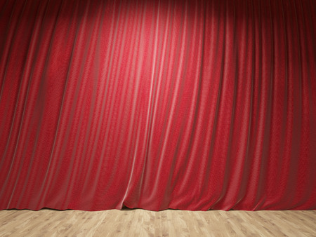 limelight: Stage with closed red curtains and wooden floor. Mock up, 3D Rendering Stock Photo