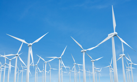 mills: Numerous wind mills on blue clear sky background. 3D Rendering