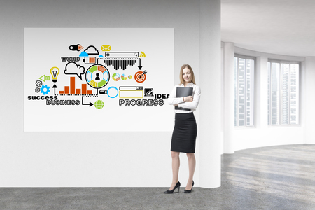singapore city: Businesswoman standing next to whiteboard with success sketch in concrete interior with Singapore city view. 3D Rendering