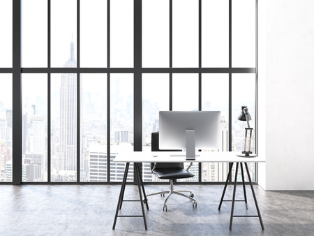 minimalistic: Office interior with computer monitor and lamp on desk, chair, concrete floor and window with New York city view. 3D Rendering Stock Photo