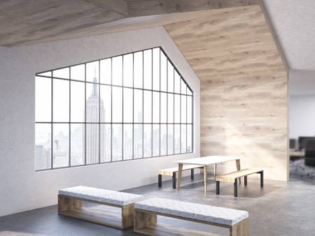 loft interior: Loft interior design with table, benches, wooden wall, ceiling and window with New York city view. 3D Rendering