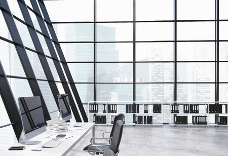 loft: Loft office interior with document shelves, computer monitors on desks, concrete floor and panoramic windows with Singapore city view. 3D Rendering