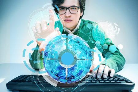 man using computer: Young man using computer keyboard on white desktop and pressing abstract digital pattern Stock Photo
