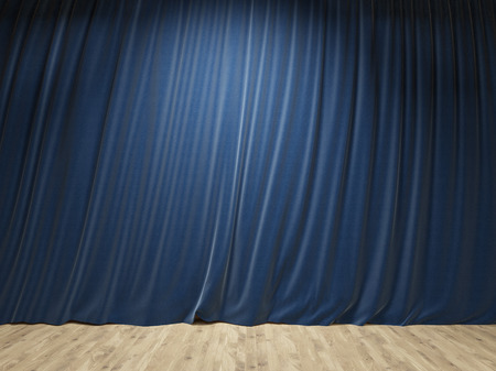 Stage with closed blue curtains and wooden floor. Mock up, 3D Rendering