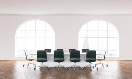 wooden floor: Furnished conference room interior with wooden floor, concrete walls and windows with New York city view. 3D Rendering