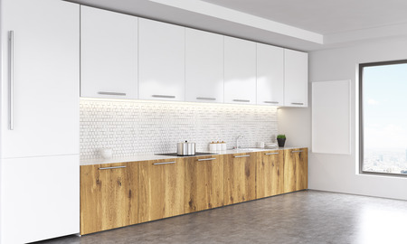kitchen window: Side view of white and wooden kitchen interior with blank whiteboard, window with city view, fridge and concrete floor. 3D Rendering