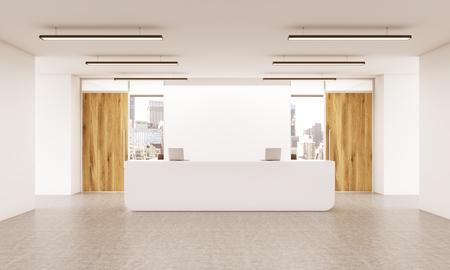 wooden doors: Office lobby interior with reception desk, wooden doors, concrete floor and city view. 3D Rendering