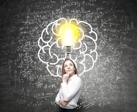 Analytisch denkend concept met lightbulb, hersenenschets en wiskundige formules op muur Stockfoto